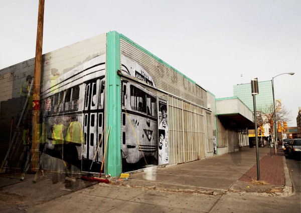One of the installations for the El Paso Transnational Trolley Project.